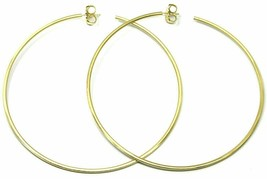 Silver Earrings 925 Circles Diameter 9,5 cm Thickness 2 mm Golden Satin image 1