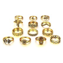 HuaTang Antique Gold Silver Moon Crown Crystal Ring Knuckle Wedding Ring... - $12.90