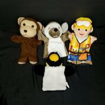 Hand Puppet Plush Handyman Helper Monkey Emirates Rat Penguin Lot Of 4 S... - $17.81