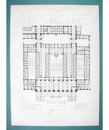 ARCHITECTURE 2 PRINTS 1866: PARIS Palace of Justice Floor Plans - $13.46