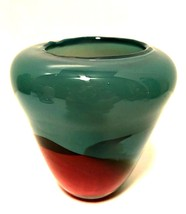 Art Glass Vase Dusty Blue w/ Red Purple Detail Hand Blown 4.75 inches Tall - $68.30