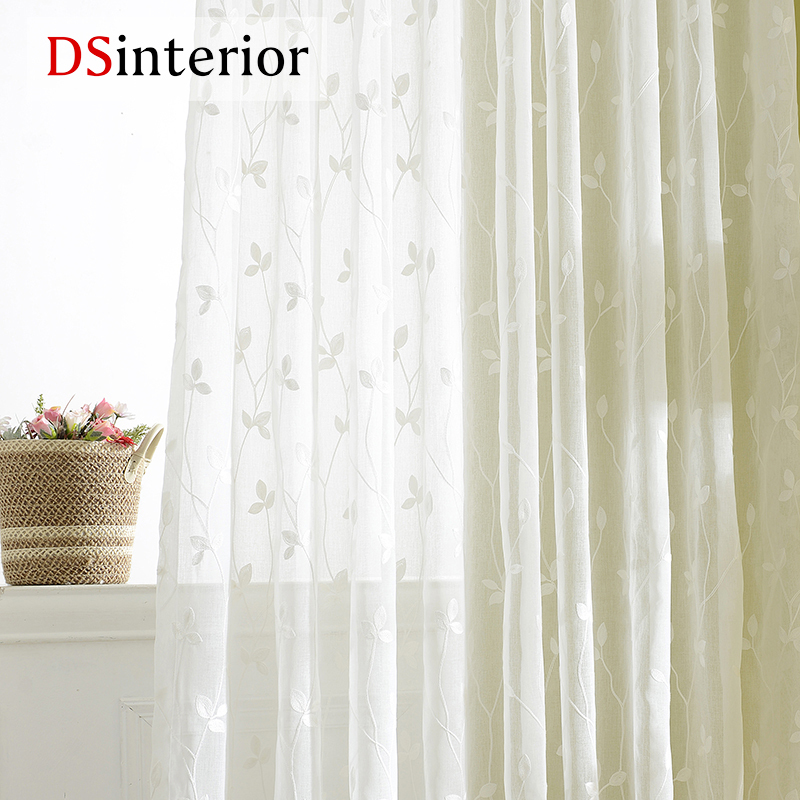 Used, 2018-White-Embroidered-Voile-Curtains-Bedroom-Sheer-Curtains-for-Living-Room-Tul for sale  USA