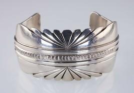 Navajo Lester Craig Stamp Tooled Design Sterling Silver Cuff Bracelet - $370.84