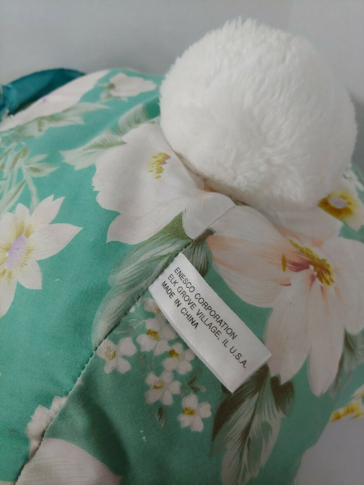 Enesco Plush white teddy bear green floral flowers outfit lace collar pink nose image 7