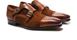Handmade Men's Brown Toe Brogues Double Monk Strap Leather and Suede Shoes image 1