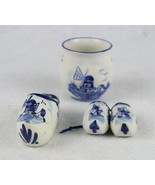 Lot of Delft Blue Handpainted Holland Wooden Shoes and Small Jar - $39.59