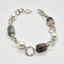 BRACELET THE ALUMINIUM LONG 21 CM WITH CHALCEDONY GRAY AND PEARLS image 4
