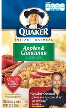 Quaker Instant Oatmeal Apple & Cinnamon 10-Count Box, 12.3 oz (Pack of 3) - $28.70