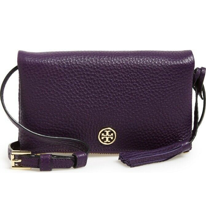 Primary image for NWT Tory Burch Robinson Leather Foldover Crossbody Bag Iris PURPLE $240 AUTHENTC