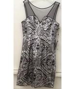 ADRIANNA PAPELL Sheer Yoke Shift Silver Black SEQUIN MESH SHEATH DRESS S... - $55.95