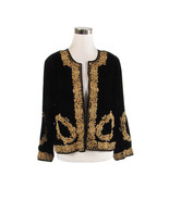 Black velvet 3/4 sleeve gold beaded vintage jacket XL - $45.00