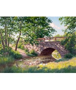 Landscape under the bridge river water lilies and ducks by Johan Krouthe... - $15.00