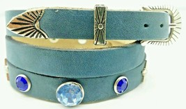 NEW Blue HATBAND Leather w BLUE CRYSTALS + STAR CONCHOS & Buckle Set Hat Band - £16.55 GBP