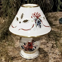 LARGE LENOX Winter Greetings Red Cardinal & Holly Berries Porcelain Candle Lamp - $29.95