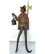 Antique Black Forest German hook rack figural Nightwatcher wood handcarv... - $400.00