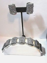 SET MID CENTURY VINTAGE BRACELET MATCHING CLIP ON EARRINGS SILVER CONFET... - $19.00