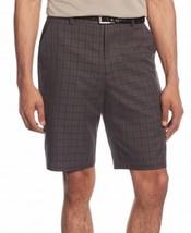 $55 Greg Norman Plaid Print Mens Flat-Front Shorts, Charcoal, Size 32. - $24.74
