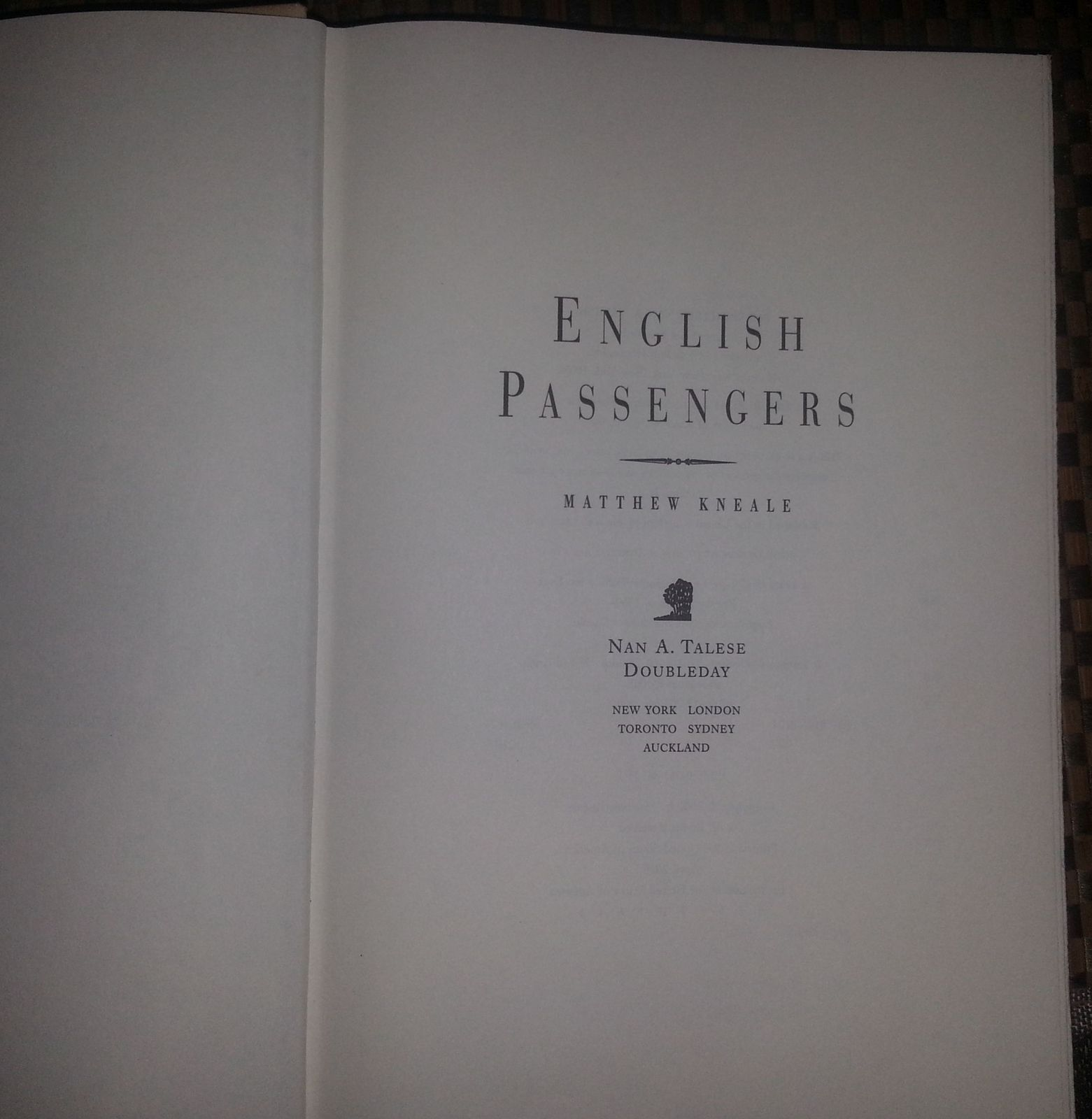 English Passengers by Matthew Kneale 2000 HBDJ Eden Tasmania