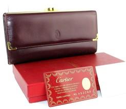 AUTH CARTIER PARIS BURGUNDY LEATHER TRIFOLD LONG WALLET PURSE HAND BAG G... - $187.11