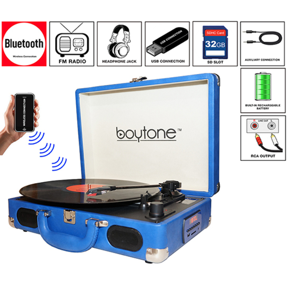 Boytone BT-101BL Bluetooth Turntable Briefcase Record player AC-DC, Built in Rec