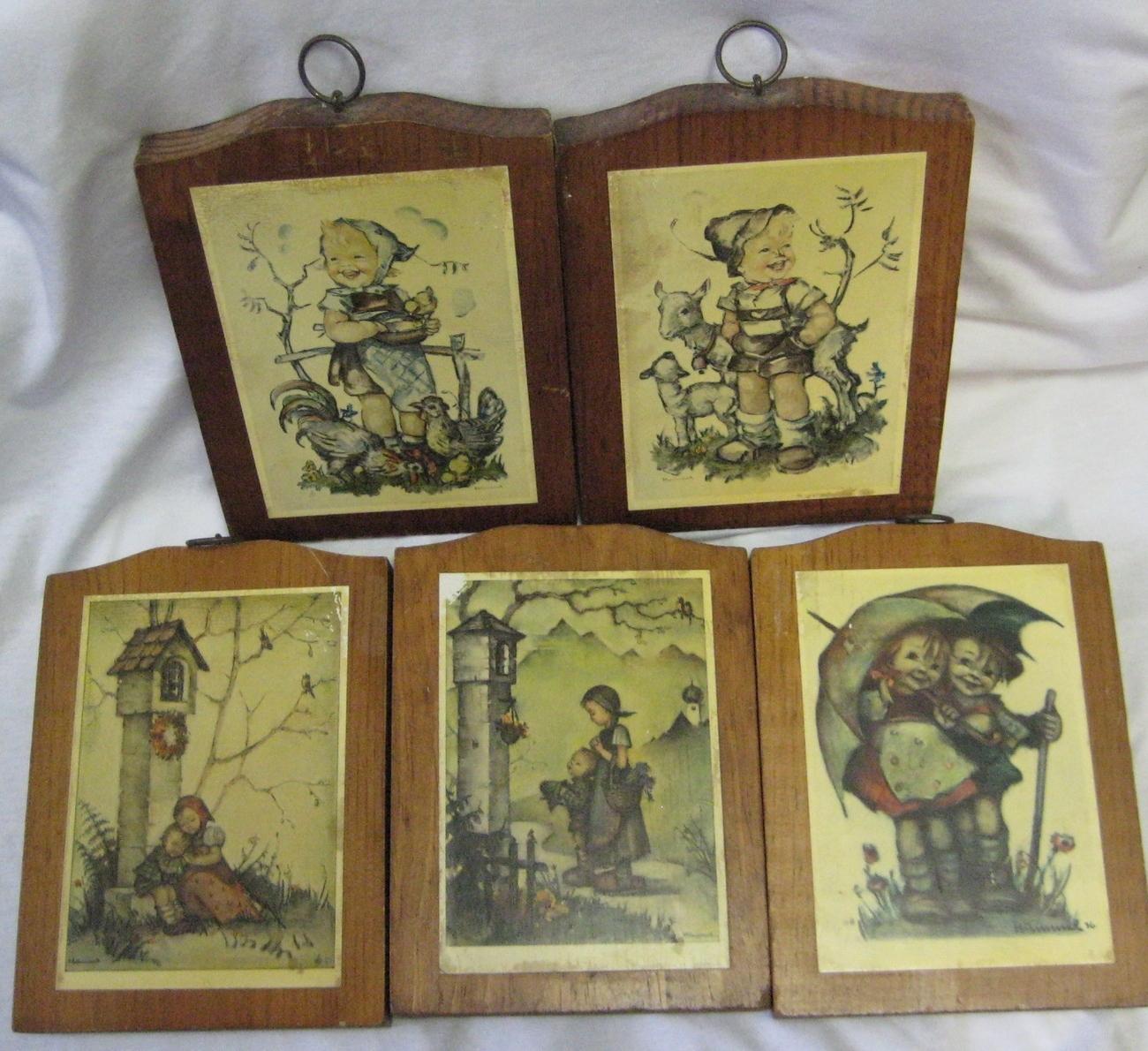 5 Vintage Hummel Children Wood Wall Plaques Chickens, Sheep, Children, Birds - $19.99