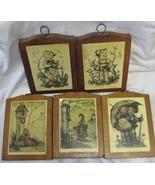 5 Vintage Hummel Children Wood Wall Plaques Chickens, Sheep, Children, B... - $19.99