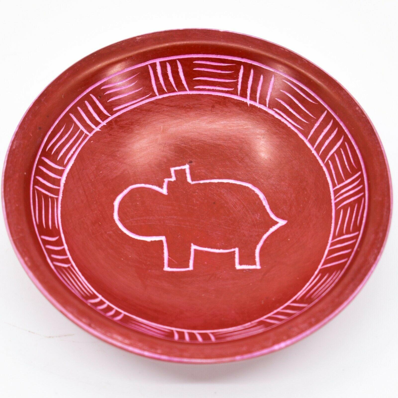 Vaneal Group Hand Carved Kisii Soapstone Red Hippo Trinket Bowl Dish Kenya