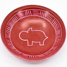 Vaneal Group Hand Carved Kisii Soapstone Red Hippo Trinket Bowl Dish Kenya