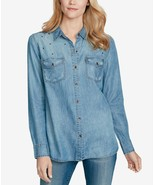 Jessica Simpson Juniors' Petunia Denim Button-Front Shirt, Size M, MSRP ... - $29.69