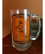 Vintage Richwood Lumberjacks Glass Beer Mug Glass Mug Richarwood Lumberj... - $25.00