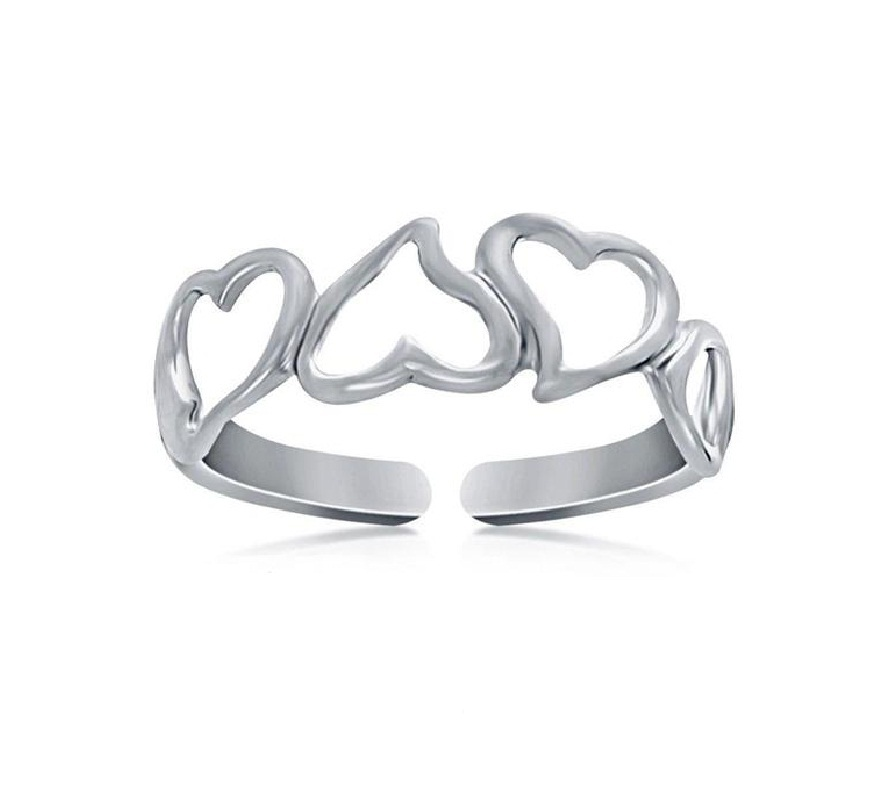 Primary image for 14k White Gold Plated 925 Sterling Silver Ravishing Heart Shape Cutout Toe Ring