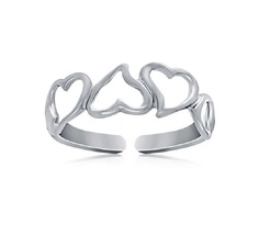 14k White Gold Plated 925 Sterling Silver Ravishing Heart Shape Cutout Toe Ring - £7.95 GBP