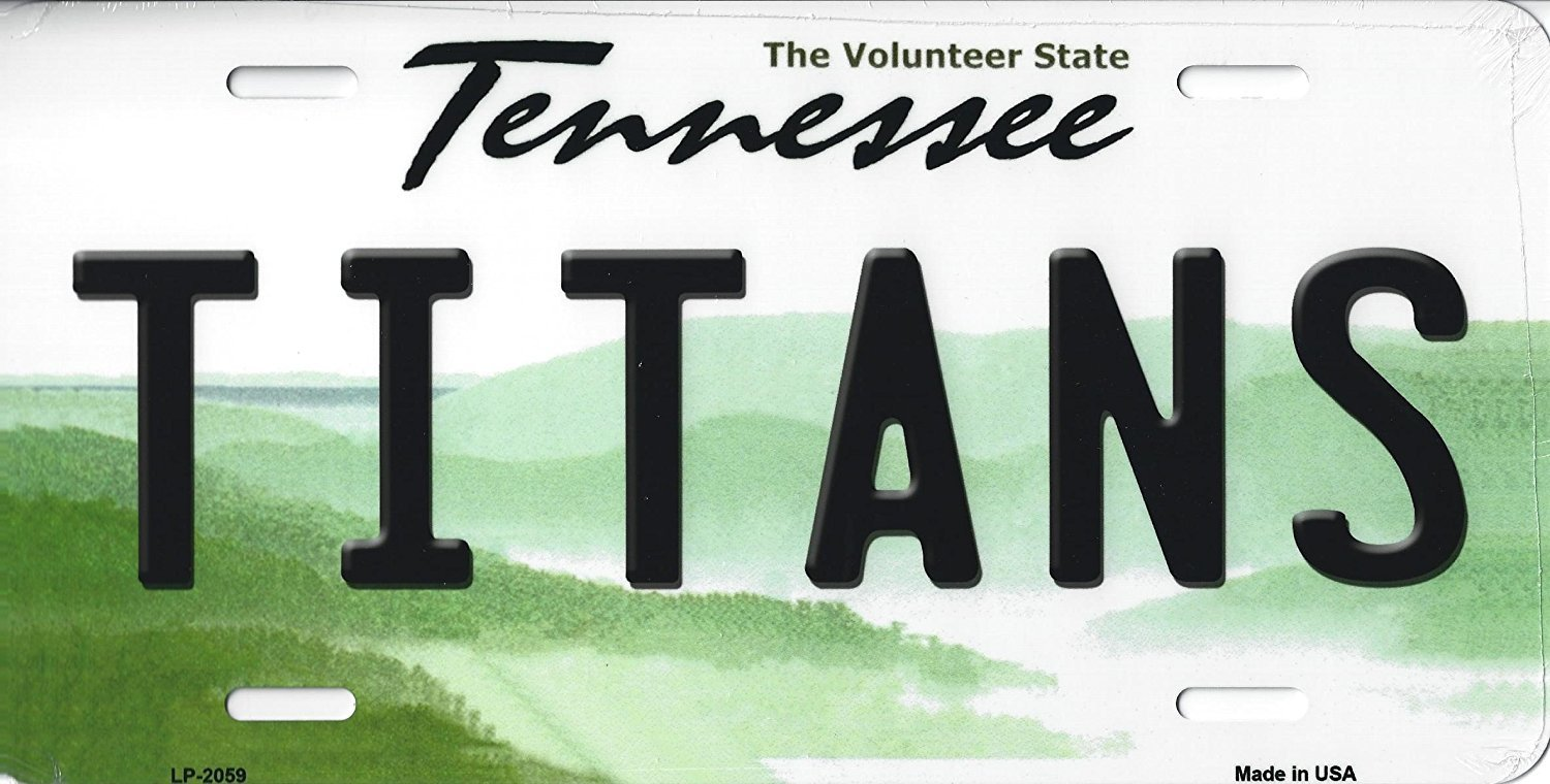 Titans Tennessee State Background Metal License Plate Tag (Titans)
