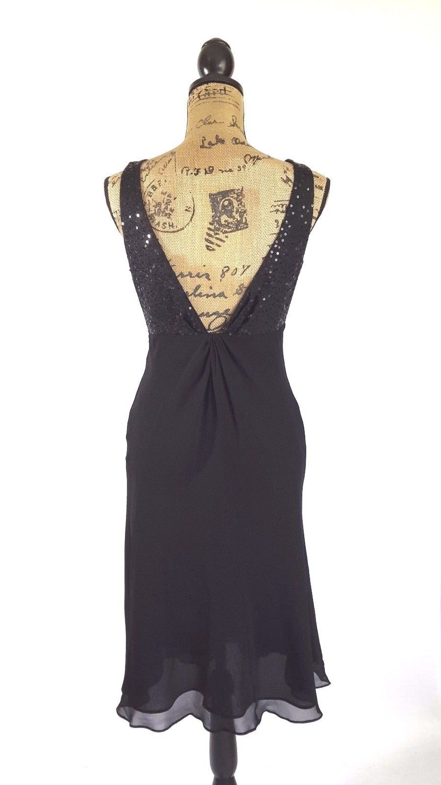 Anne Klein Dress 6 Med classic black 100% silk low back sequin top party LBD