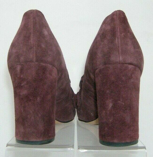 Franco Sarto 'Ainsley' purple suede buckle kiltie slip on block heels 7.5M image 6