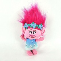"Dreamworks Trolls Poppy 8"" Plush Troll Doll Pink Hair Blue Dress Stuffed Animal  - $14.50"