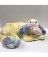 Vintage My Banky Jillian Color Block Bunny Baby Blanket Nursery Soft Sat... - $24.74