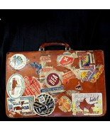 Vintage Pendragon Leather Briefcase Distressed Lock Key Suitcase Stickers - $306.65