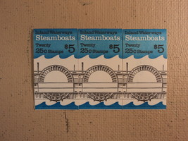 USPS Scott 2405-09 25c 1989 Steamboats 3 Books Of 20 60 Stamps 12 Panes - $42.22