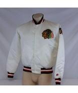 Vintage Chicago Blackhawks Starter Satin Jacket NHL Hockey Coat 90s Whit... - $119.99