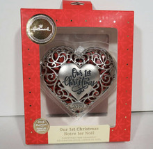 2019 OUR 1st Christmas Pewter Heart Locket Christmas Holiday Ornament New In Box - $16.78
