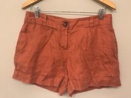Ann Taylor LOFT Womens 4 Linen Shorts Beach Peach Orange - $14.85