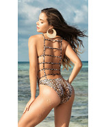 Mapale Leopard Print Strappy Back One Piece Swimsuit 6543 - $36.99