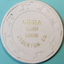 10¢ Vintage Casino Chip. Aurora Card Room, Stockton, CA. 1953. Q48. - $6.99