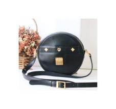 MCM Bags Black Round Cross Body Shoulder vintage authentic leather handbag - $260.00