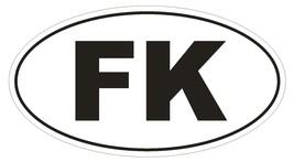 FK Falkland Islands Oval Bumper Sticker or Helmet Sticker D2054 Country Code - $1.39+