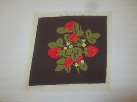 "Vtg. STRAWBERRIES & BLOSSOMS NEEDLEPOINT on Brown Backing - 12 3/4"" x 13... - $9.90"