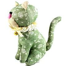 Delton Green Floral Fabric Kitty Cat Jingle Bell Small Door Stopper Doorstop image 2