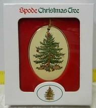 "Spode~Christmas Tree~Oval W/ Gold Band~2-3/4"" Porcelain Ornament~MIB - $14.01"