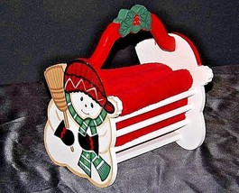 Snowman Wood Rack with Three Towels AA18-1374Holiday image 1
